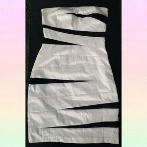 Black cream strapless bodycon dress